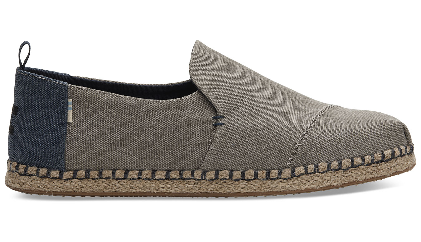 TOMS Grey Washed Canvas Alpargata