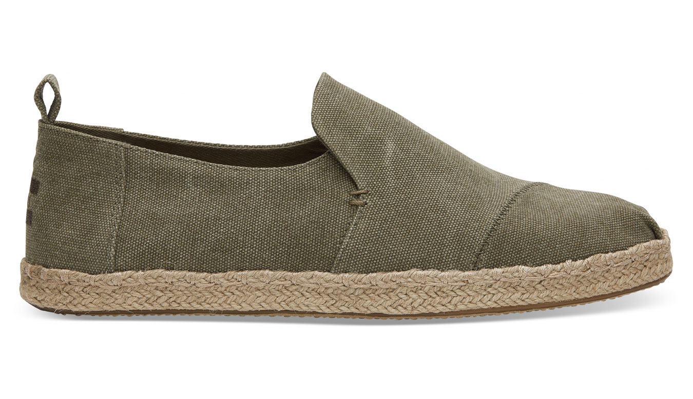 TOMS Olive Washed Canvas Alpargata